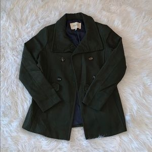 Thread & Supply army green trench coat